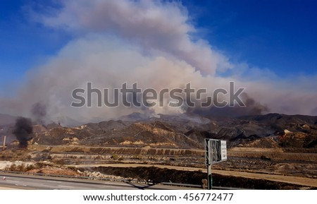 Santa Clarita, CA, USA - July 22, 2016 - Sand Fire engulfing 2500 acres on the northeast side of 14 freeway in Santa Clarita area on July 22, 2016.