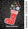 Santa Claus boot. Vintage Christmas Card. Illustration - stock photo