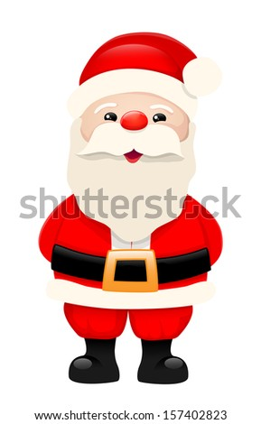 Santa Claus, cartoon character, isolated on white background, illustration, bitmap copy