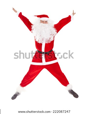 Santa Claus jumping with hands lifted upwards isolated on white background