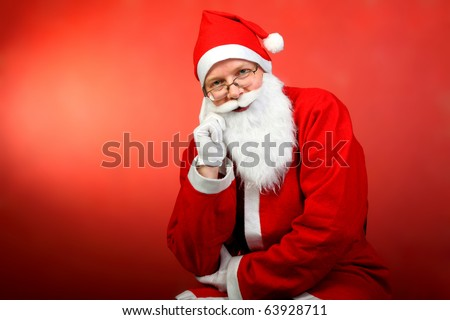 santa claus portrait on the red background