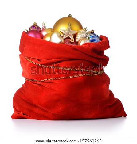 Santa Claus red bag with Christmas toys on white background. File contains a path to isolation.