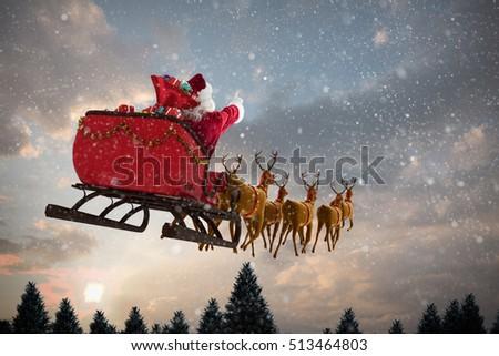 santa claus riding on sled during stock illustration