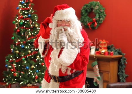 Santa Claus sneaking into home