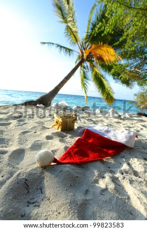 santa hat on sand under palm