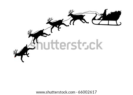 Santa on his sleigh with reindeer in silhouette