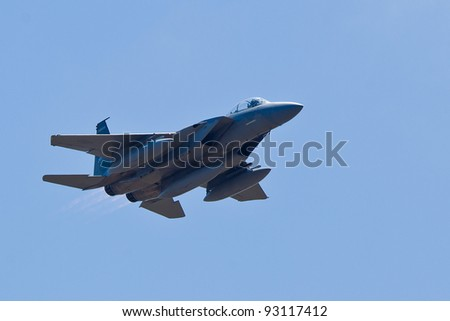 SANTA ROSA, CA - AUGUST 21: Boeing F-15E Strike Eagle aircraft during 2011 Wings Over Wine Country Air Show on August 21, 2011 in Santa Rosa, CA.