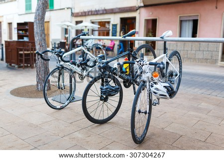 Santanyi, Mallorca, Spain - July 02, 2014: Sport bikes parked near the cafe at the summer time