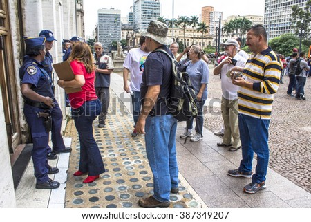 Sao Paulo, Brazil, March 03, 2016. Municipal civil servants make a protest in front of the Municipality of Sao Paulo in the Cha Viaduct, downtown Sao Paulo,