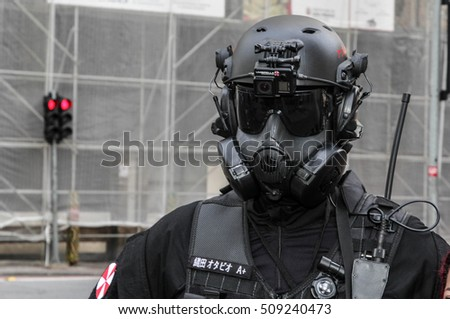 Sao Paulo, Brazil November 2 2016: An unidentified man in cop costume in the annual event Zombie Walk in Sao Paulo Brazil.