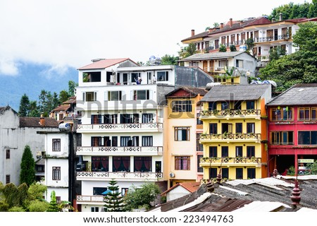 SAPA, VIETNAM - SEP 20, 2014: Houses and the nature  of Sapa, Lao Cai, Vietnam.  Sapa is a frontier town and capital of Sapa District