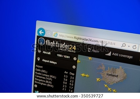 SARANSK, RUSSIA - DECEMBER 12, 2015: A computer screen shows details of flightradar24 main page on its web site.