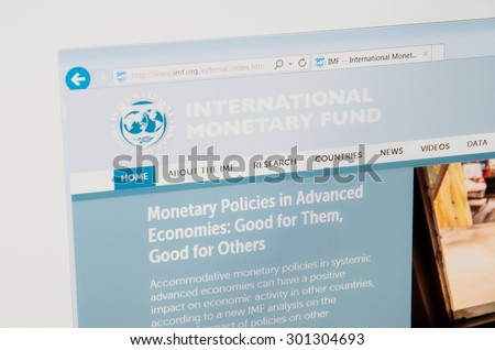 SARANSK, RUSSIA - JULY 29, 2015: A computer screen shows details of International Monetary Fund main page on its web site.