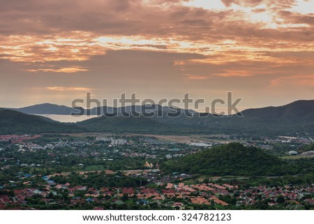 SATTAHEEP - OCTOBER 5 : The aerial view of coastal city in Sattaheep in twilight time on October 5, 2015. Sattaheep is a coastal district in Chonburi province,Thailand.