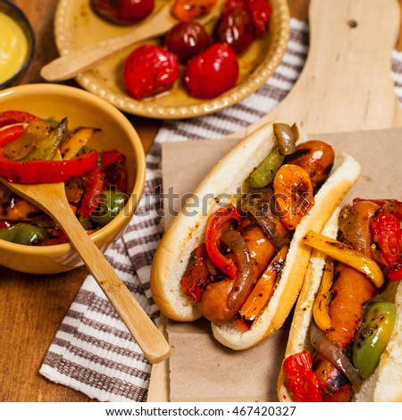 Sausage and Roasted Pepper Sandwich. Selective focus.