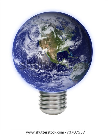 Save energy. Concept image with Earth and lamp bulb.