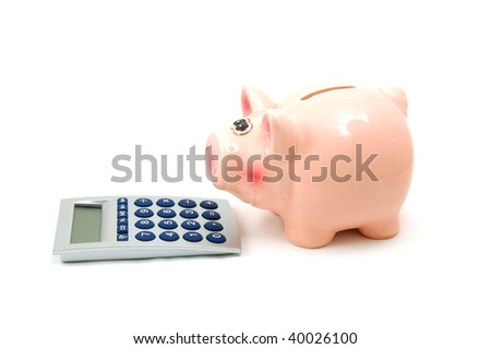 saving money with a piggy bank isolated on white