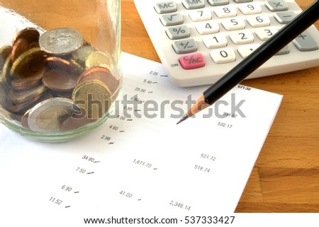 Savings Account Statement Calculator Pencil Coins Stock Photo