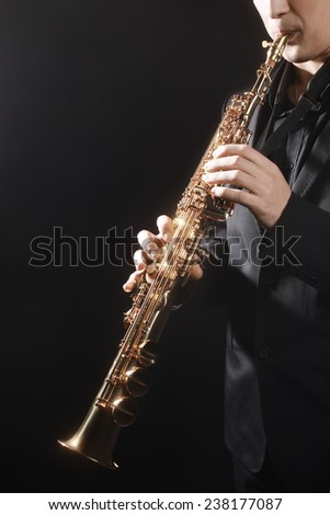 Saxophone classical music instrument Saxophonist with soprano sax