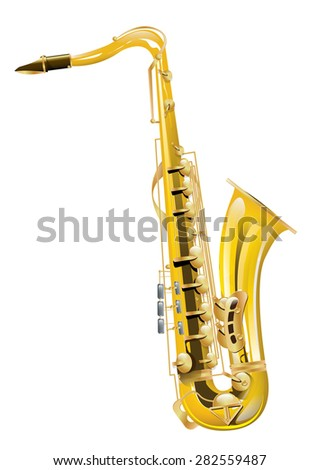 Saxophone, this is a classic Saxophone illustration, the musical instrument popular in jazz and classical music.