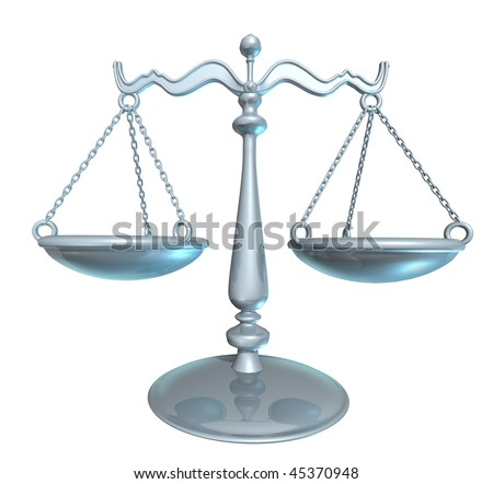 scale of law blind justice (includes clipping path)