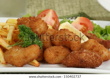 scampi fries and salad