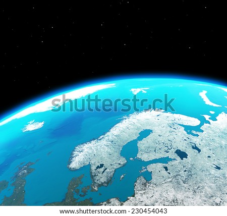 Scandinavia continent city lights outer spaceelements for 3d outer space map