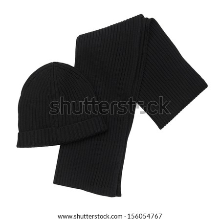 Scarf and Hat  isolated on white background
