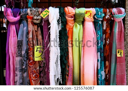 Scarves for Sale in El Rastro (Flea Market) in Madrid, Spain