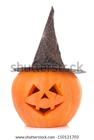 Scary halloween gourd with black hat isolated on white background