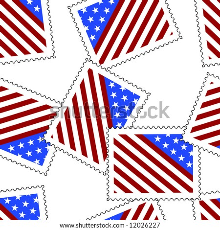 Scattered postage stamps with symbolic depiction of an american flag. Seamless raster in any direction. Vector version available.