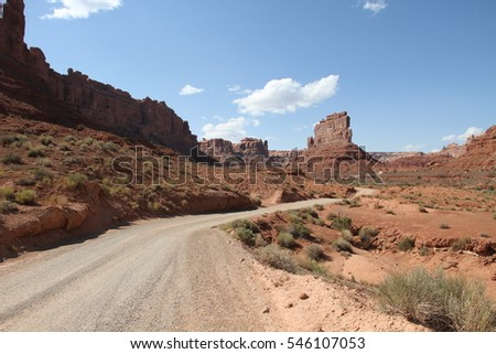 scenic gravel road in the Valley of the Gods