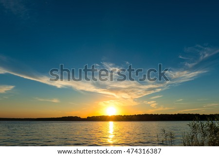 scenic landscape-sunset over the lake