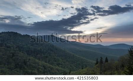 Scenic sky and mountains in NC.
