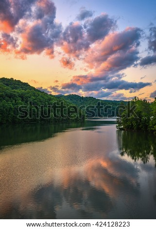 Scenic sunset, mountain lake, Appalachian Mountains