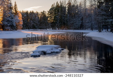Scenic view of a flowing river in winter