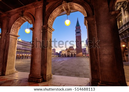 Scenic view of Piazza San Marco with architectural arches detail, Venice
