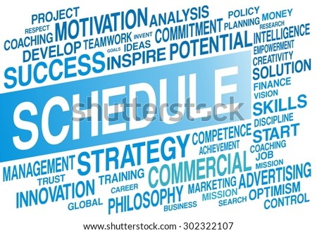 SCHEDULE word cloud concept in blue color