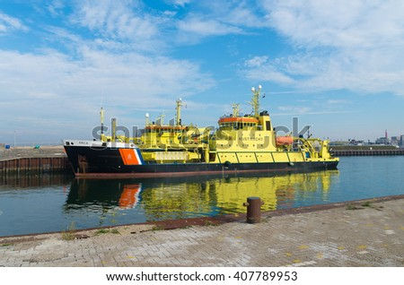 SCHEVENINGEN, NETHERLANDS - OCTOBER 3, 2015: Dutch coast guard ship ARCA in the scheveningen harbor