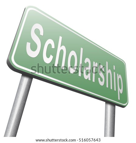 Scholarship or grant for university or college education study funding application for school funds. Billboard isolated on white background. 3D illustration, isolated, on white