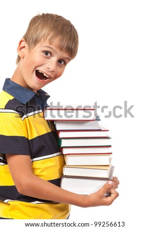 School boy is holding books isolated on white background