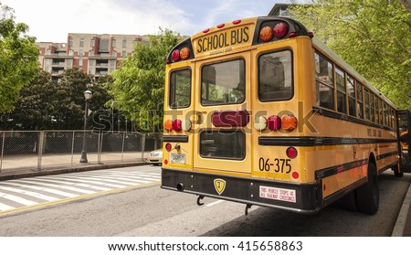 School Bus in Atlanta Georgia - ATLANTA, GEORGIA - APRIL 20, 2016