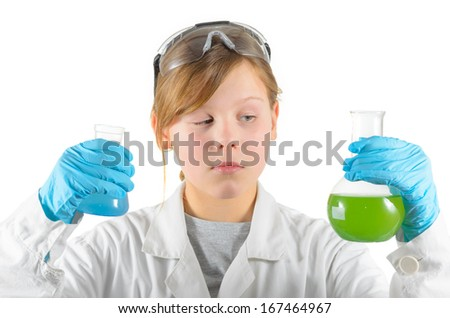school girl with test tubes, chemistry classes