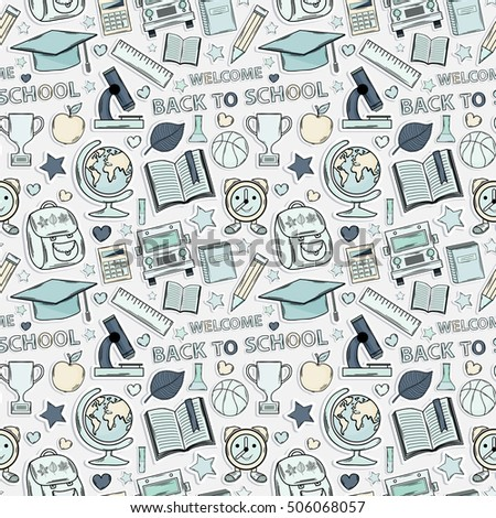 School pattern. Themed design with different elements:hat graduate,scroll, apple,books,flasks, basketball,alarm clock, briefcase, backpack, school bus,globe,ruler,microscope