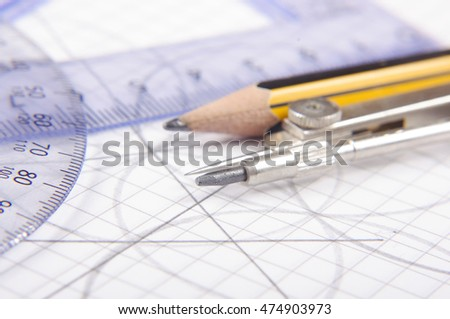 School technical drawing equipment close up