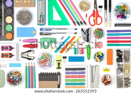 school tools on white background top view