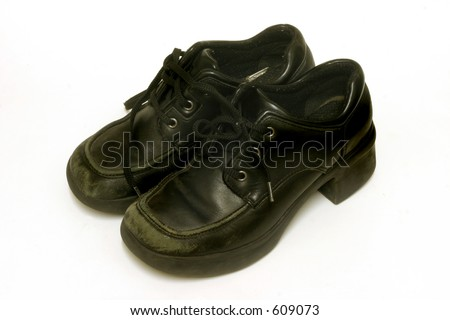 Isolated Used Black Rock Climbing Shoes Stock Photo ...