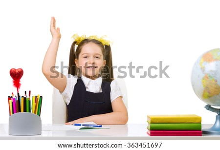 Schoolgirl at her desk isolated
