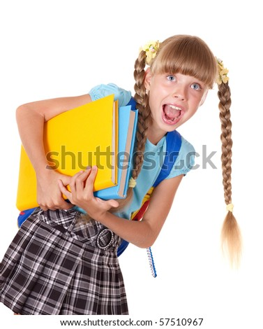 Schoolgirl with backpack holding books. Isolated.