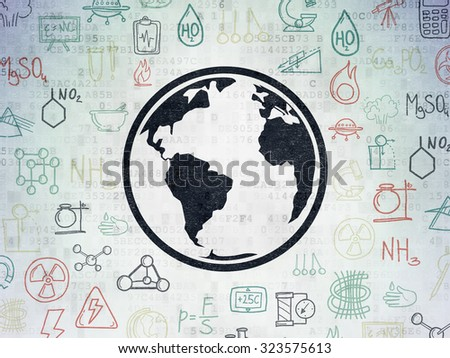 Science concept: Painted black Globe icon on Digital Paper background with  Hand Drawn Science Icons